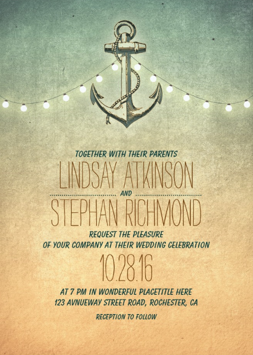 Rustic String Lights Nautical Wedding Invitations