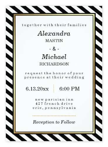 Top 10 most glamorous black white striped wedding invitations stylish gold black white wedding invitations from zazzle filmwisefo