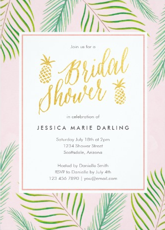 Tropical Pink + Gold Pineapple Bridal Shower Invitations from Zazzle
