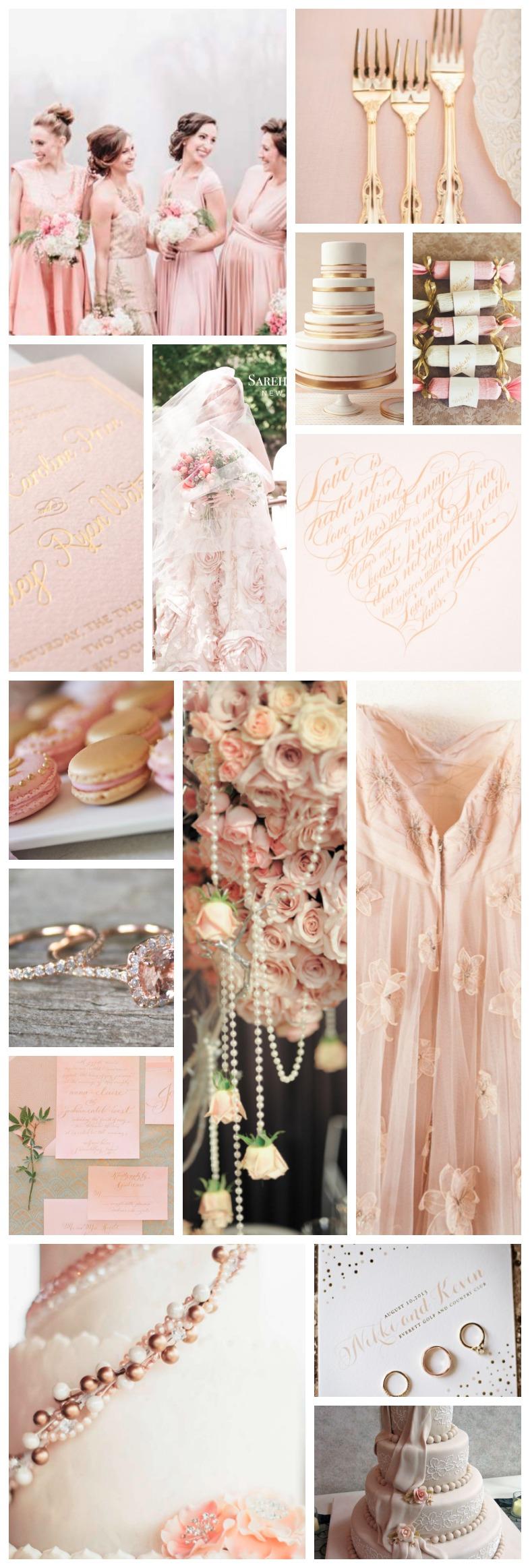 rose, blush and gold wedding palette inspiration board