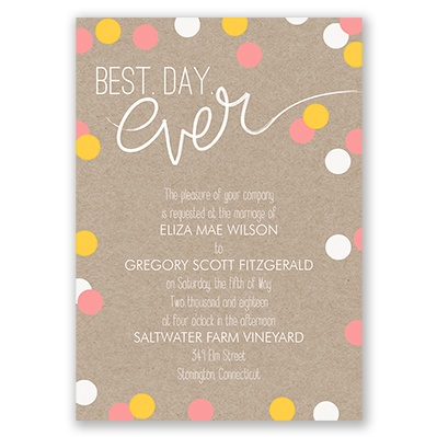 Colorful, whimsical dots by Invitations by Dawn.