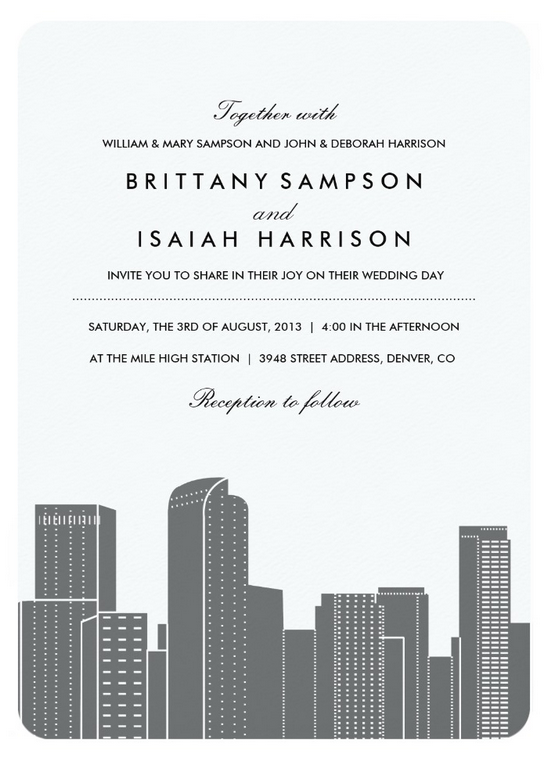 Denver Skyline Wedding Invitations in Grey and White by Origami Prints for Zazzle.