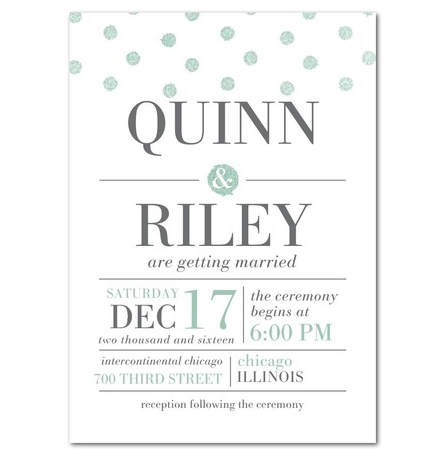 Mint glitter dots wedding invitations by Sarah Hawkins Designs for Wedding Paper Divas