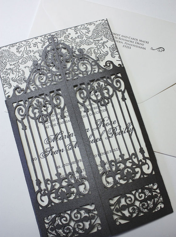 "Laser-Cut Scrollwork Gate ""Old Philly"" Wedding Invitations from Etsy"