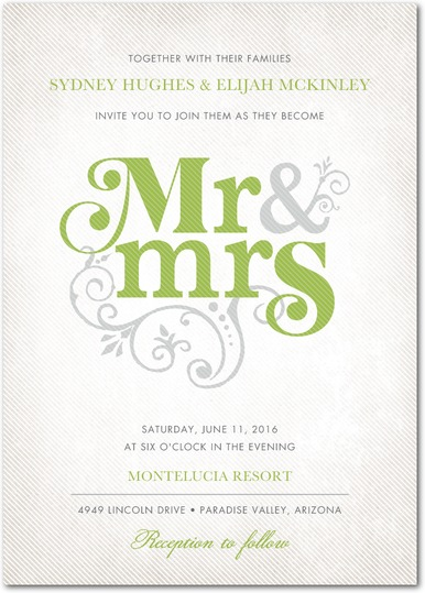 Elegant, whimsical flourishes and a vibrant green palette make for a modern take on an Irish-inspired wedding invitation, from Wedding Paper Divas.