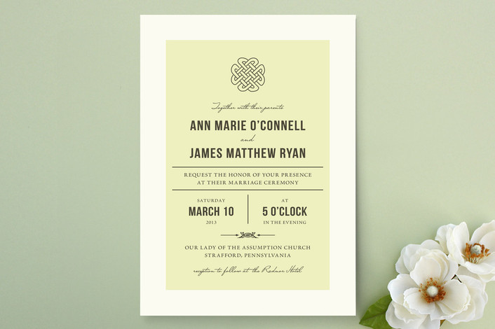 A classic celtic knot design tops this simple, elegant vintage-inspired wedding invite from Minted.