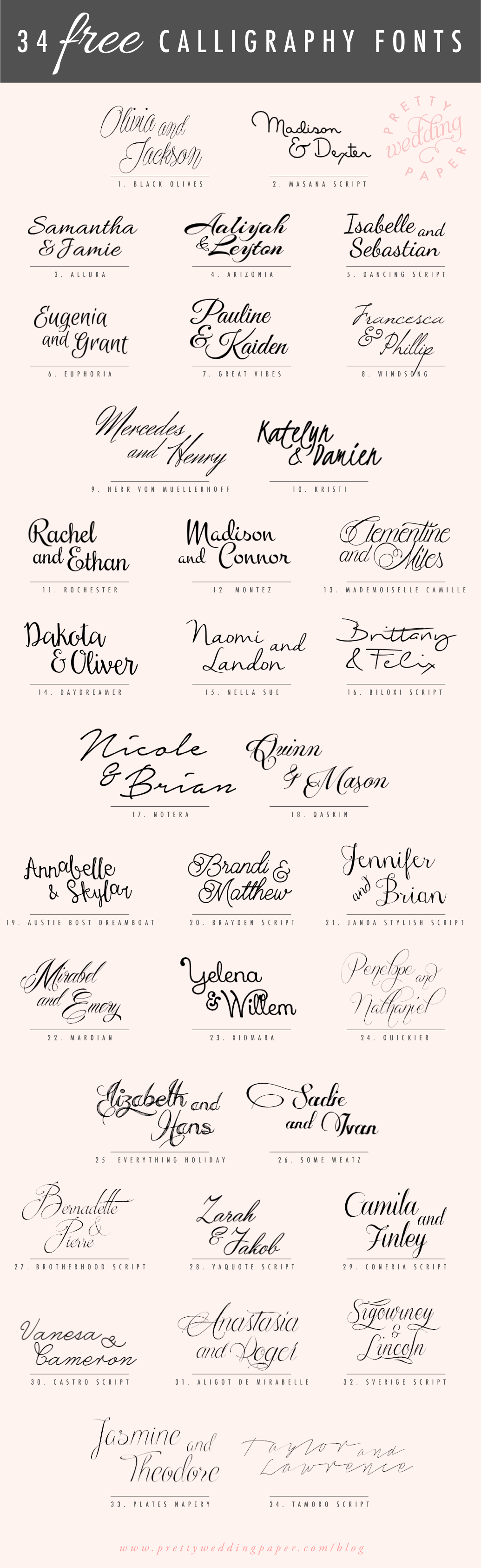 34 free calligraphy script fonts for wedding invitations Calligraphy scripts