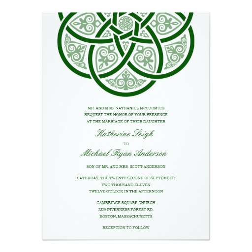 The ornate, looping knot filled with intricate details is complemented by a very modern, green and white color scheme in this wedding invite from Zazzle.