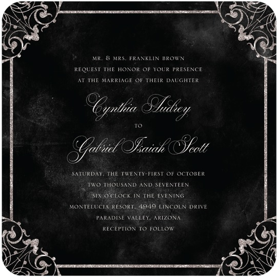 Elegant vows black wedding invitation from wedding paper as