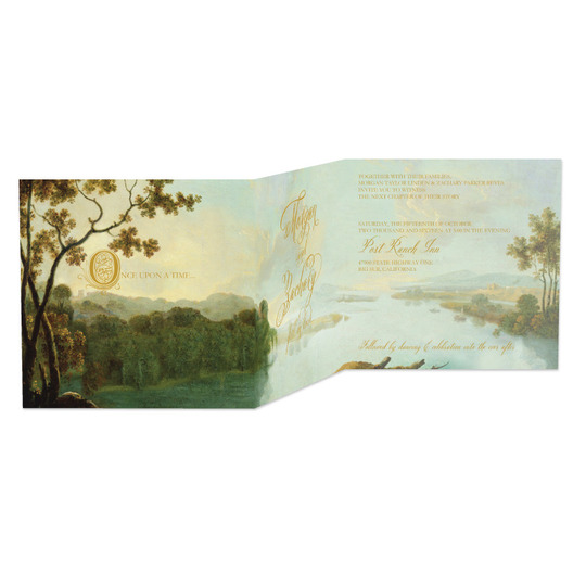 Love this romantic folding wedding invitation. Doesn't it look just like a fairytale? from Wedding Paper Divas.