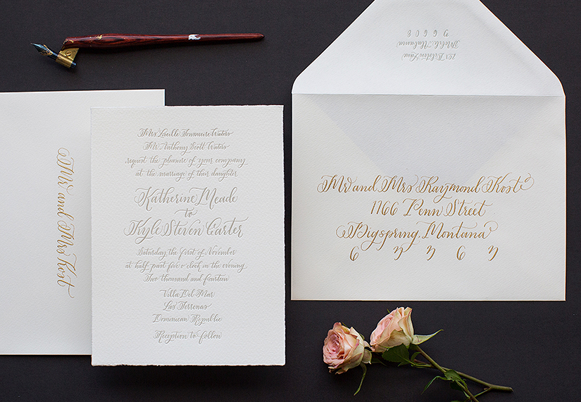 Simple and gorgeous calligraphic wedding invitation design from Courtnie of Poppy Pedals in Montgomery, AL (link).