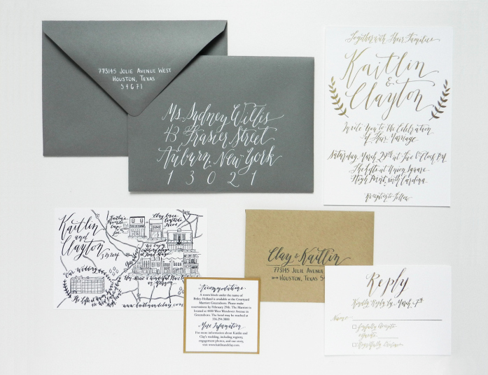 Elegantly whimsical calligraphy from Lindsey of the Postman's Knock studio in Boulder Colorado (link).