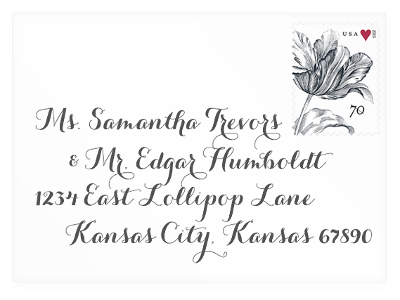 Calligraphic envelope address mock-up with Carolyna Pro Black (link to download).