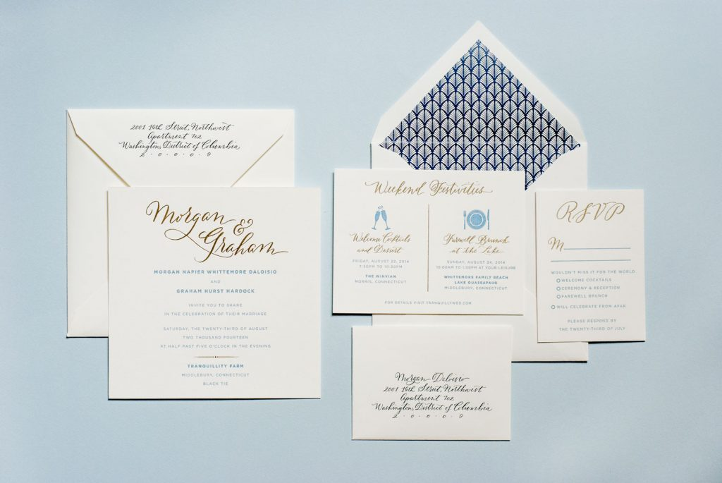 Hand-drawn calligraphic wedding invitation suite (invitation, RSVP and envelopes) from 1440 Design Studio in NYC (link).