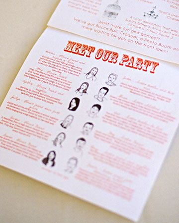 """Meet Our Party!"" Wedding Programs from Pinterest"