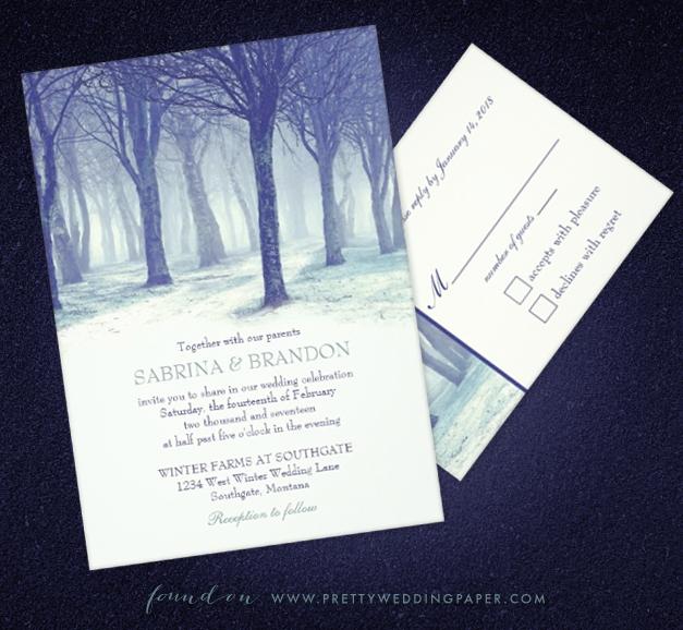 Winter wedding invitation spotlight snowy forest snowy winter forest wedding invitations by sandy of the paper mill junglespirit Gallery