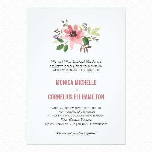 Cute watercolor floral wedding invitations