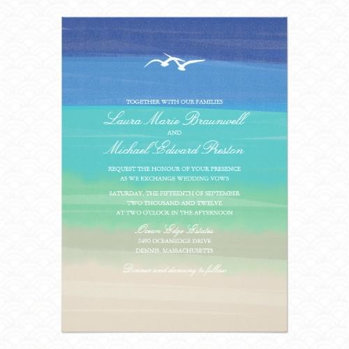Sand, sea and seagulls painted wedding invitation
