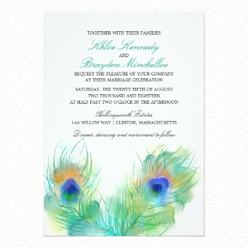 Watercolor peacock feather wedding invitations