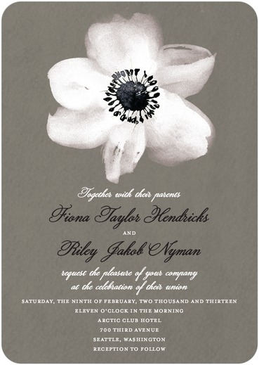 Simple and sweet white anemone flower wedding invitations from Wedding Paper Divas.