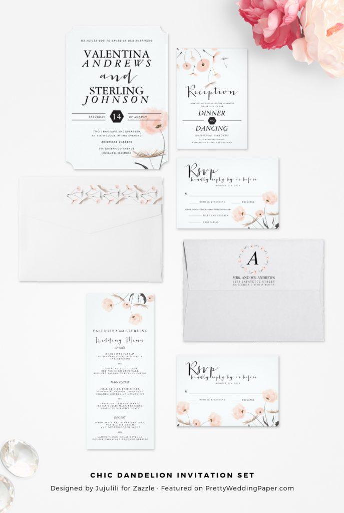 Chic modern dandelion wedding invitations collection.