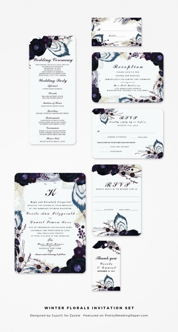 Winter Florals Purple Wedding Invitation Set from Jujulili