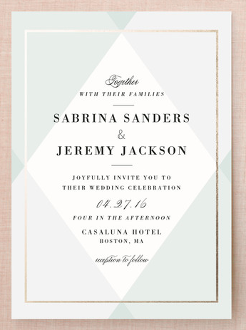 Creme Brulee Geometric Wedding Invitations in Green, Grey and Gold.
