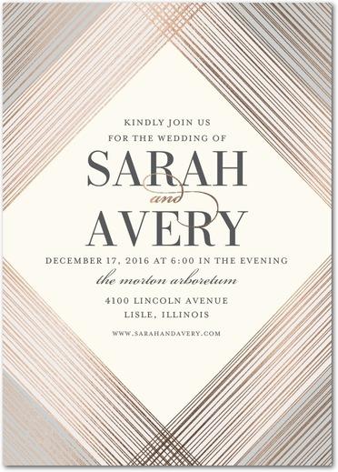 Everlasting gem foil-stamped diamond geometric wedding invitations.