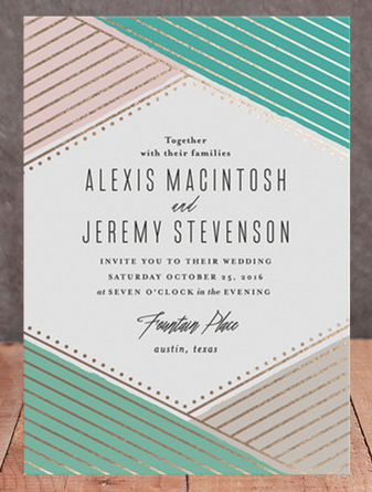 Overlapping Triangles Geometric Wedding Invitations in gold, pink and aqua.