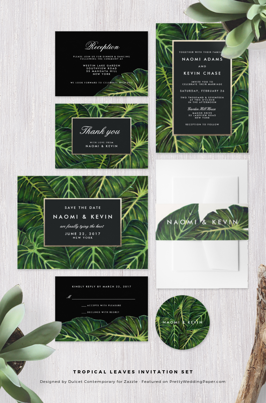 Chic & Modern Tropical Wedding Invitations