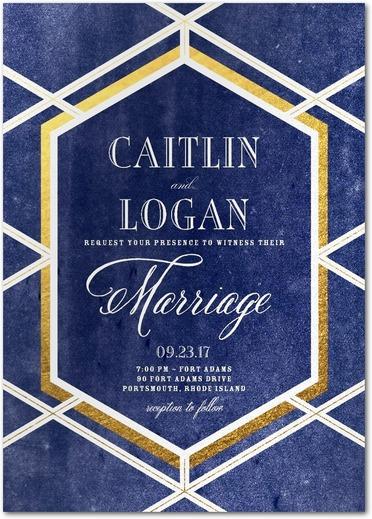 Twilight trellis geometric gem blue and gold wedding invitations.