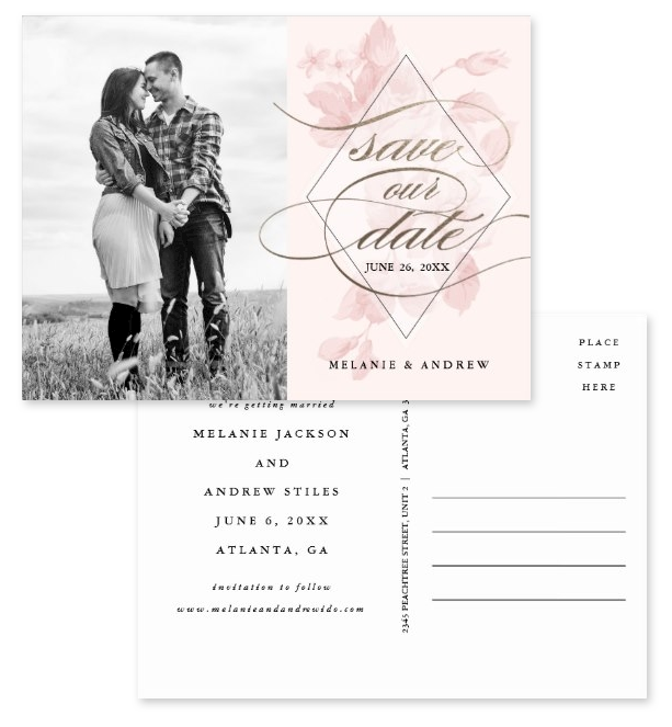 """Photo save the date postcards: front features a couple's photo on the left and """"save the date"""" in gold calligraphic script over pink florals on the right. The back is also shown with easy-to-edit template postcard text."""