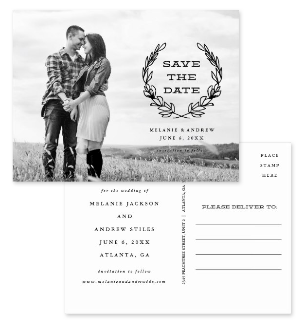 Gorgeous rustic chic frame photo save the date postcards. Showing both front and back. Featuring a black rustic frame overlaid on black and white photo.