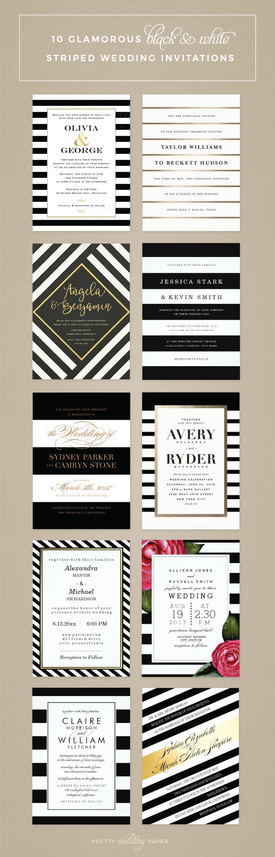 Top 10 Most Glamorous Black & White Striped Wedding Invitations