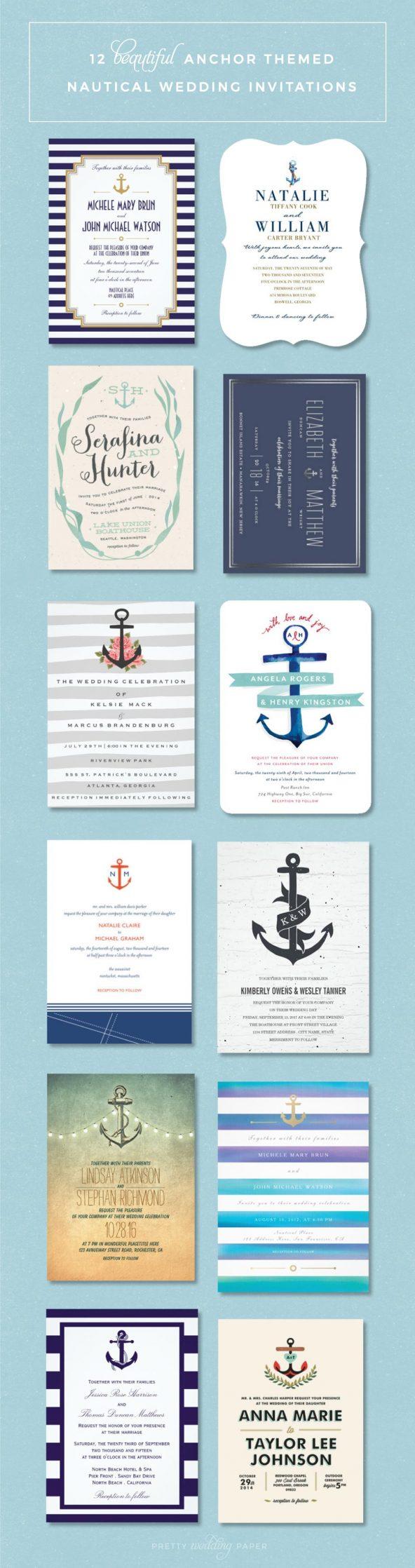 Nautical Wedding Invitations // Anchor-Themed Wedding Invitations // Nautical Wedding Ideas