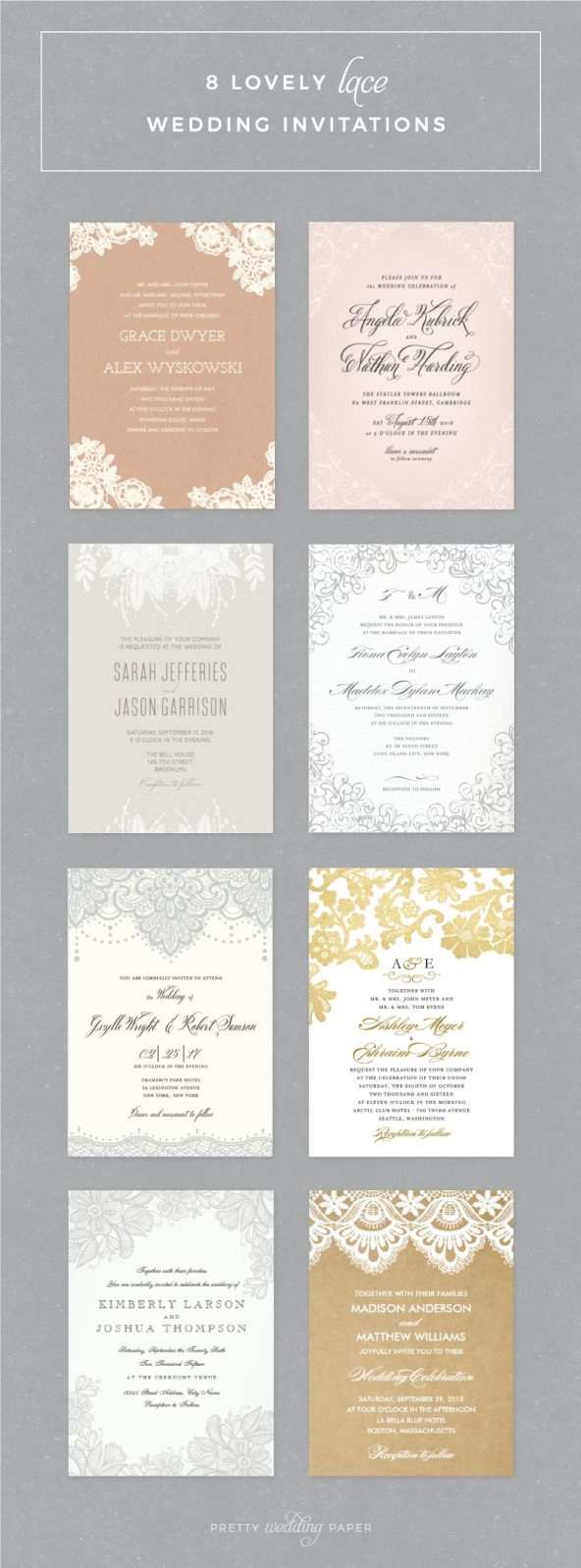 Lace Wedding Invitations: 8 lovely invites including vintage lace, rustic lace, and floral lace in kraft, grey, pink and gold.