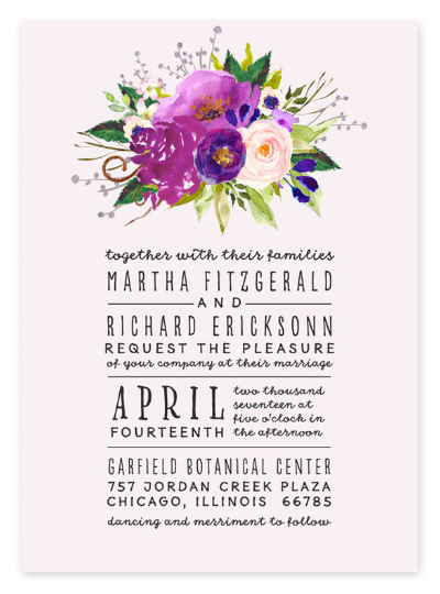 Blush Pink Floral Wedding Invitations from Etsy