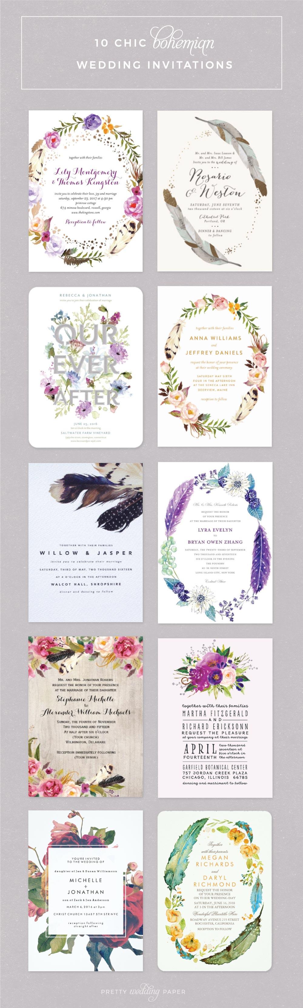 085bf4dbd9e3 Top 10 Boho Wedding Invitations  Pretty Florals + Feathers