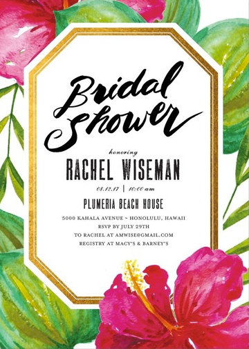 Pink Hibiscus Tropical Bridal Shower Invitations from Wedding Paper Divas