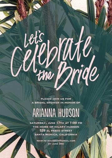 Tropical Green Bridal Shower Invitations from Wedding Paper Divas