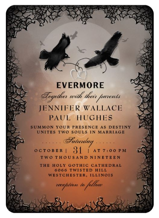 Evermore raven wedding invitation