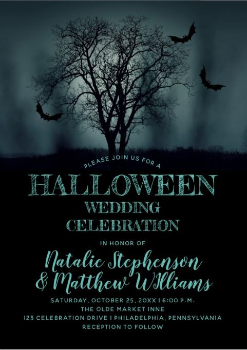 Halloween Wedding Invitations with black bats