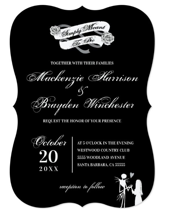 Nightmare before Christmas Tim Burton Wedding Invitation