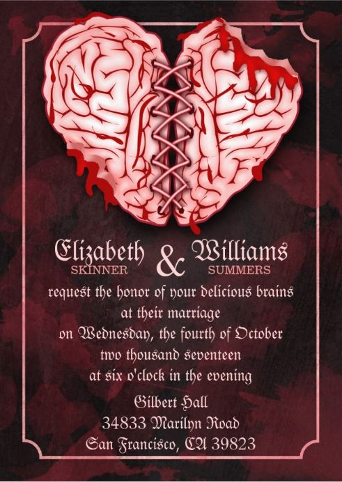 Zombie brain wedding invitation